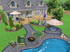 .ogród.. DIY : Amazing Easy Backyard Ideas Pool Landscaping Modern Wooden Deck