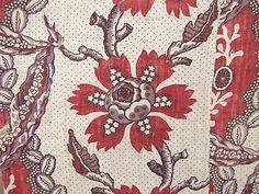 Antique French 18th century block printed pelmet linen