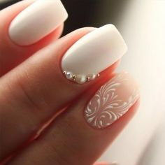 35 Simple Ideas for Wedding Nails Design - Simple Wedding Nail Art Designs - Wedding ideas Simple Wedding Nails, Wedding Manicure, Wedding Nails For Bride, Bride Nails, Wedding Nails Design, Natural Wedding Nails, Trendy Wedding, Wedding Makeup, Wedding Art