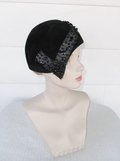 50s 60s Vintage Black Beaded Velour Cloche Hat by MyVintageHatShop