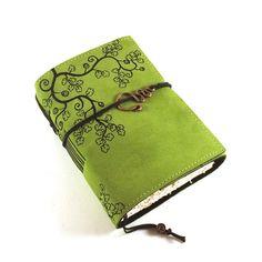 Diario de cuero, verde, Notebook, OVERGROWN