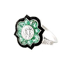 Art Deco Diamond Ring Accented with Emeralds and Onyx