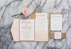 Glitter wedding invitation rose gold glitter by ATGInvitations