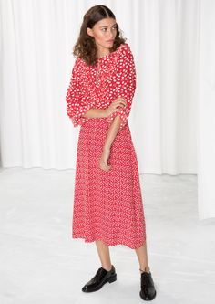 & Other Stories image 2 of Heart Printed Midi Dress in Red/ White