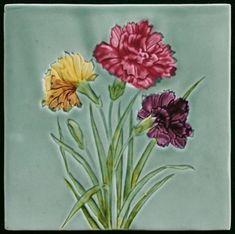 Online veilinghuis Catawiki: Georg Schmider - Art Nouveau tegel met bloemen