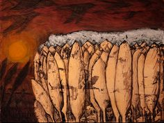Liziera codrului de arama-II. Culori acrilice si schlagmetal gravat/panza.60x80 cm