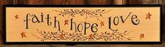 New Primitive Country FAITH HOPE LOVE Berry Vine Star Wood Sign Wall Plaque #Primitive