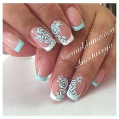 Stunning ideas for manicure for spring and summer with floral motifs. Manicure with flowers and other decorative elements with spring motifs will look great in Mint Nails, Rose Nails, Flower Nails, French Nail Designs, Nail Polish Designs, Nail Art Designs, French Manicure Nails, French Tip Nails, Manicure Ideas