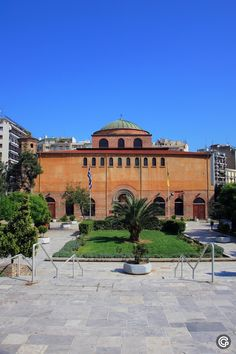 Thessaloniki | Greece | Hagia Sofia, the church of Holy Wisdom, a 6th century structure in front of which boys play soccer in its sunken courtyard.