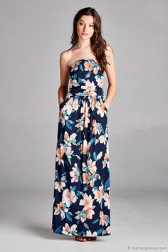 e8a562b543 Jersey Strapless Tube Floral Maxi Dress with Pockets-Navy Blue Vestido 2  Piezas