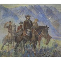 """BRIGHAM YOUNG AND PARTY ENTERING SALT LAKE VALLEY Date: 1938 Artist: MINERVA TEICHERT 1888-1976 Medium: Oil on canvas Dimensions: 165.1 x 188 cm (65 x 74"""") (Image) Frame: 182.9 x 205.7 cm (72 x 81"""") Credit Line: Brigham Young University Museum of Art Country: USA Object Number: 820038137"""