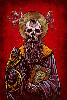 The skeleton saint absolves ye sinners for all wrongdoings. Praise be. Painting Process Painted in a Byzantine style, the aquaboard was first layered with orange and red acrylics to create a hot, hazy
