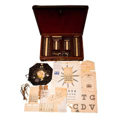 Antique Medical Optical Ophthalmology Eye Exam Set Case Charts Tools Parts Late 1800s