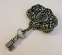 Bead Embroidered Lock and Key Brooch by beadn4fun on Etsy, $37.00