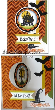 Stampin' Up! Cards - 2013-10 Fall Cards Class, Halloween Flip Card, Best of Halloween, Positively Chevron, Thinlits Card Dies, Butterfly Punches, Orange Glitter