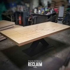 8ft reclaimed bowling lane table top made of maple and heart pine with custom steel X base. IndustrialReclaim.com  #reclaimed #repurposed #industrialfurniture #modernfurniture #design #art #handmade #wood #woodworking #vintage #holidays #giftideas #vintageindustrial #industrial #artofchi #creative #steel #metalwork #industrialdesign #interiordesigner #interiordesign #modern #maple #robbreport #bestigwoodworking  #moderndesign #chicago #Chicagoart #insta_chicago #chicagogram