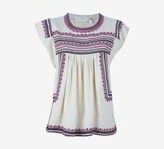 Isabel Marant Cream W/Black & Maroon Embroidery Top | VAUNTE