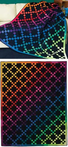 "HANNAH'S RAINBOW QUILT KIT   Simply Nine Patches, simply glorious.  See how easy piecing can lead to spectacular results.  Kit has Genii Lehmann's directions, and almost-solid fabrics for the top and binding of the 75"" x 98"" quilt.  • Quilt Size: 75"" x 98"" Twin Bed  • Project: Pieced Nine Patch  • Project rating: Easy    Price: 	$ 109.99  Part Number: 	2074"