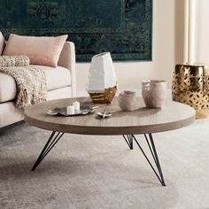 Bring a contemporary look to your home by choosing this Safavieh Mansel Light Oak and Black Retro Mid Century Round Coffee Table. Mid Century Coffee Table, Black Coffee Tables, Cool Coffee Tables, Round Coffee Table, Circular Coffee Table, Rectangle Table, Contemporary Coffee Table, Rustic Contemporary, Modern Rustic