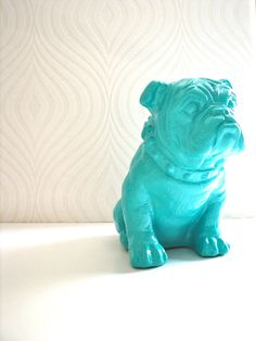 English Bulldog Statue in teal by mahzerandvee on Etsy, $44.00