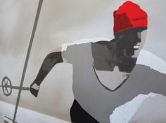 SKIFAHRER 50x50cm 2013 Acryl auf Leinwand von JosefHavelka auf Etsy, €625.00