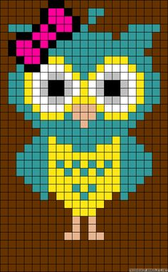 This Pin was discovered by Dor Cross Stitch Owl, Cross Stitch Designs, Cross Stitching, Cross Stitch Embroidery, Cross Stitch Patterns, Hama Beads Patterns, Owl Patterns, Alpha Patterns, Beading Patterns