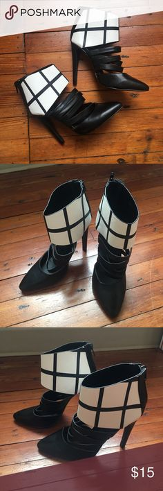 Like New Beau Ashe Black and White Heels Size 6.5 Excellent condition with NO flaws! These are my FAVORITE shoes and I'm so jealous they're not anywhere close to my size!! These would be perfect for a night out or worn with skinnies!   Measurements Size: 6.5 Heel: 4.5 inches Beau Ashe Shoes Heels