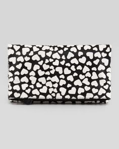 Hearts Me Calf Hair Fold-Over Clutch Bag, Black by Alice + Olivia at Neiman Marcus.