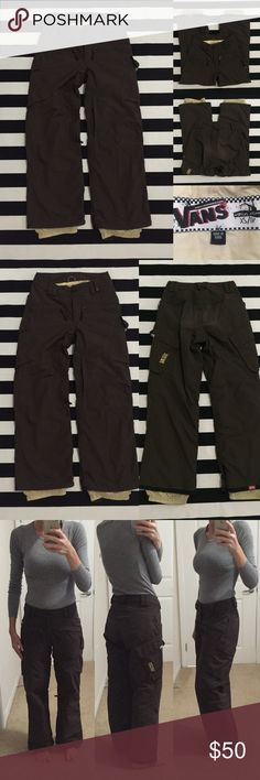 "[VANS] women's snowboarding pants szXS [VANS] women's snowboarding pants szXS •🆕listing •good used condition •brown with cream lining •4 pockets, 2 inner thigh vents •material 100% nylon •length/inseam 29"" (for reference, I'm 5'6.5"" in photo and they are good length) •subtle lightening/wear to bottom area, inside thread 1"" under waist undone, otherwise good condition •offers welcomed using the offer feature or bundle for the best discount••• Vans Pants"
