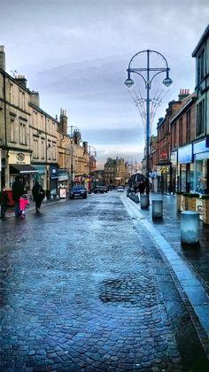 Cobbled street in Hamilton, Scotland after the rain...