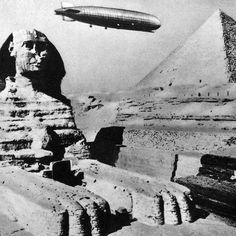 Not a still from an Indiana Jones movie: this really is a Zeppelin over Giza in 1931!