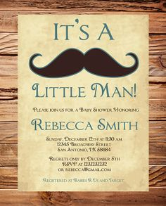 Baby shower Invitation boy, Mustache Boy Shower,  Little Man, Brown, Teal, vintage, Mustache Baby Boy Shower, Printable. $18.00, via Etsy.