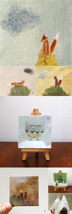 Really interesting for that little space -  3x3 inch canvas paintings...display on a mini easel