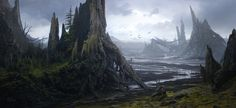 ArtStation - Fallen Giants, Gaelle Seguillon on We Heart It Fantasy Places, Fantasy World, Fantasy Art, Landscape Concept, Fantasy Landscape, Environment Concept, Environment Design, Shops, Fantasy Forest