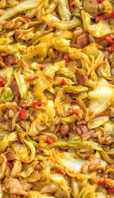 This Fried Cabbage recipe is insanely good! Made with bacon, onion, bell pepper, and a touch of hot sauce, it is easy to make, simple, and comes out perfect every time! #cabbage #dinner #thanksgiving #winter #bacon