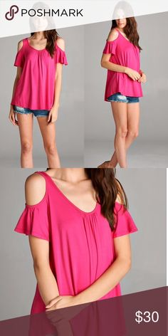 Pink Cold Shoulder Top This top features cold open shoulder, ruffle flutter sleeves and loose fit. Tops Tunics
