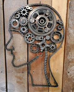 22 x 16 metal junk wall art Metal Wall Art Decor, Metal Artwork, Metal Robot, Brain Art, Piece Auto, Metal Engraving, Junk Art, Welding Art, Bike Art