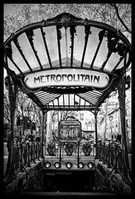 Art nouveau style metro structure, Paris, France