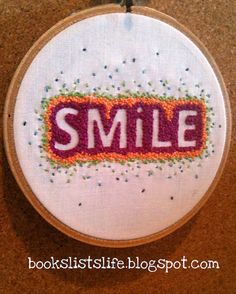 Smile embroidery for stitch swap | Flickr - Photo Sharing!
