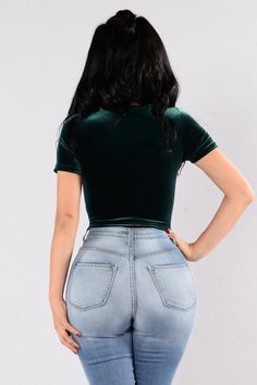 Available in Black and Hunter Green Velvet Crop Top Short Sleeve Round Neckline Made in USA Polyester Spandex Boujee Outfits, Fashion Outfits, Womens Fashion, Fasion, Best Jeans, Velvet Tops, Green Velvet, Hunter Green, High Waist Jeans