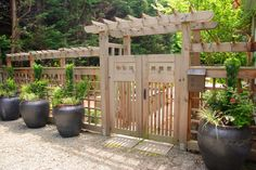 fence; gate; planters