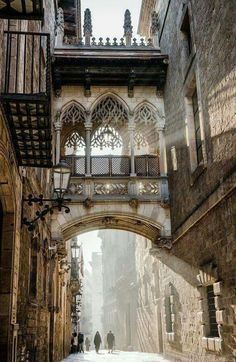 Carrer del Bisbe, Barcelona, Spain (Beauty World) Poster Architecture, Architecture Antique, Beautiful Architecture, Beautiful Buildings, Architecture Design, Beautiful Places, Barcelona Architecture, Landscape Architecture, Landscape Photography