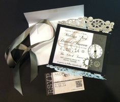 Clock Tower Wedding Invitations #clock #gears #lace #doilies #doily #handmade #pearl card stock on black column card stock. Now we just have to put 100 together!