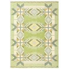 Lovely Green Vintage Scandinavian Kilim by Ingegerd Silow | From a unique collection of antique and modern russian and scandinavian rugs at https://www.1stdibs.com/furniture/rugs-carpets/russian-scandinavian-rugs/