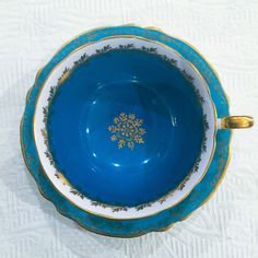 Luminous Teal Blue 1930's Shelley Tea Cup and by TheBelovedTeacup