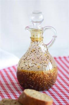 """Best Dressing"" by anediblemosaic: (olive oil, apple cider vinegar, honey, dijon mustard, soy sauce, poppy & sesame seeds, seasoned salt, pepper, onion, garlic). #Salad_Dressing"