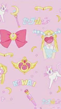 Haha, Sailor Moon wallpaper. Usagi being her iconic crybaby self. I like how it shows a few of her weapons. Kawaii indeed. Visual. Direct. Internet.