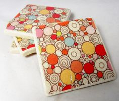 Pink and Red Mod Dot Tile Drink Coaster Set by nosweatcoasters, $26.00