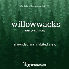 Dictionary.com's Word of the Day - willowwacks - New England. a wooded, uninhabited area.