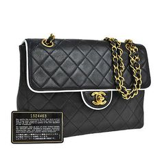 Auth-CHANEL-Quilted-CC-Logos-Chain-Shoulder-Bag-Bi-Color-Leather-Vintage-SN00551
